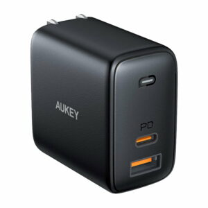 AUKEY Omnia 65W Fast Charger Dual Port USB C PD 3.0 Plus USB A Wall Charger – Black – PA-B3