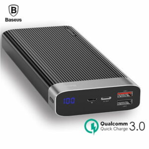 Baseus Parallel Power Bank 20000 MAh 18W USB Type-C PD + Quick Charge 3.0 QC 3.0 Ports White (PPALL-APX02)